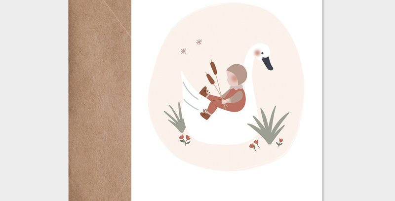 Carte postale - Postcard - L'enfant et le cygne rose / R