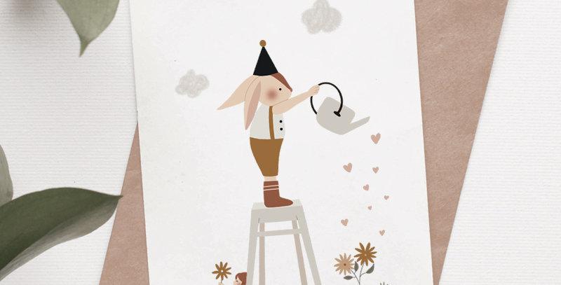 Carte postale - Post card - Arroser le bonheur