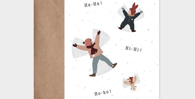 Carte postale - Postcard - Traces dans la neige / R