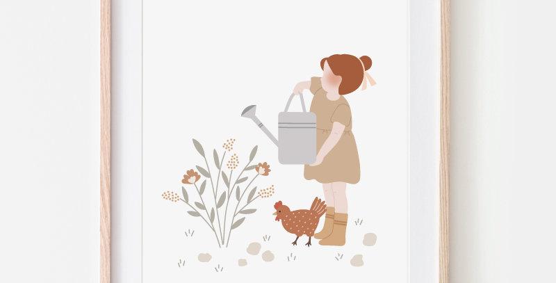Affichette - Little Poster - Au jardin / R