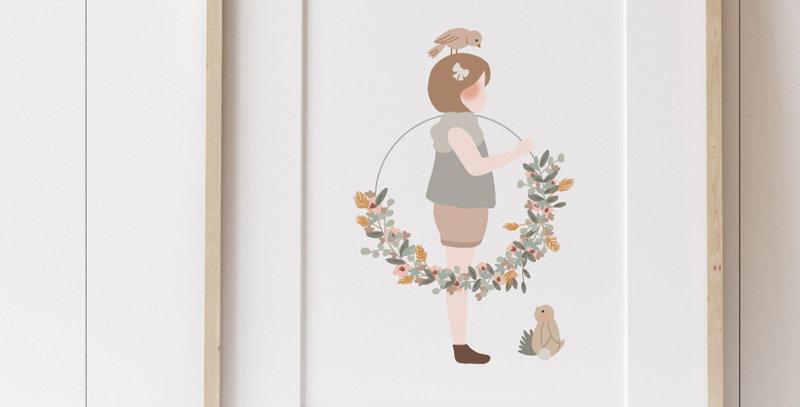 Affichette - Little Poster - La petite fille à la couronne