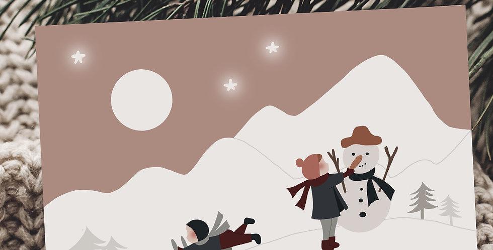 Carte postale - Post card - Jouer dans la neige