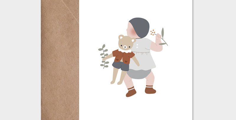 Carte postale - Postcard - Bébé et son doudou garçon / R