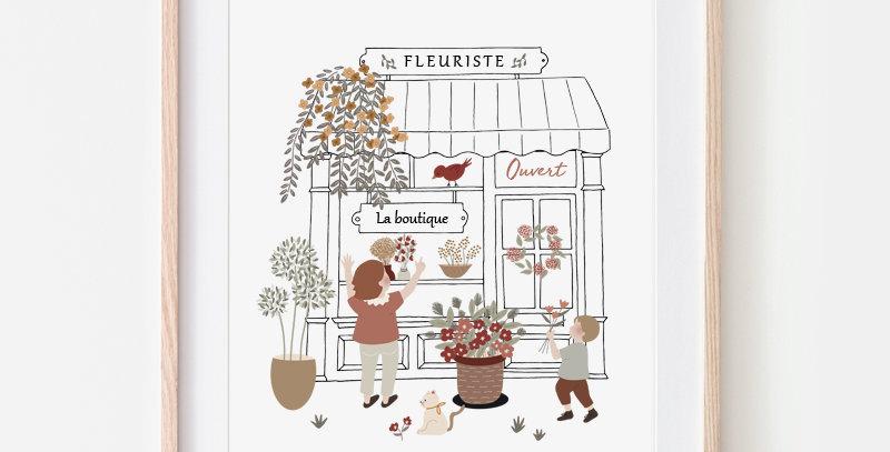 Affiche A4 - Poster A4 - Maman Fleuriste / R