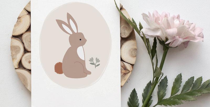 Carte postale - Post card - Lapin de printemps rose