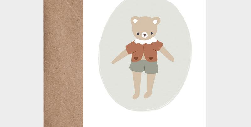 Carte postale - Postcard - Mon petit ourson gris vert / R