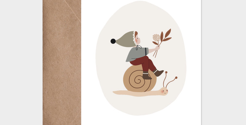 Carte postale - Postcard - Léo l'escargot / R