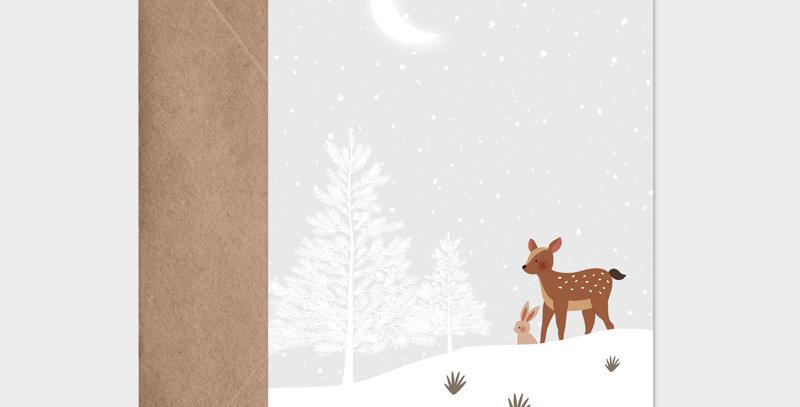 Carte postale - Postcard - Faon dans la neige / R