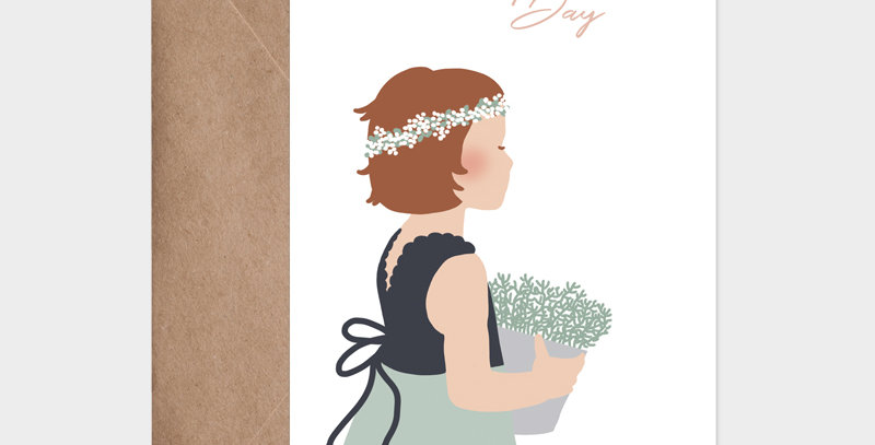 Carte postale - Postcard - Petite fille au bouquet de fleurs avec couronne de fleurs de cérémonie