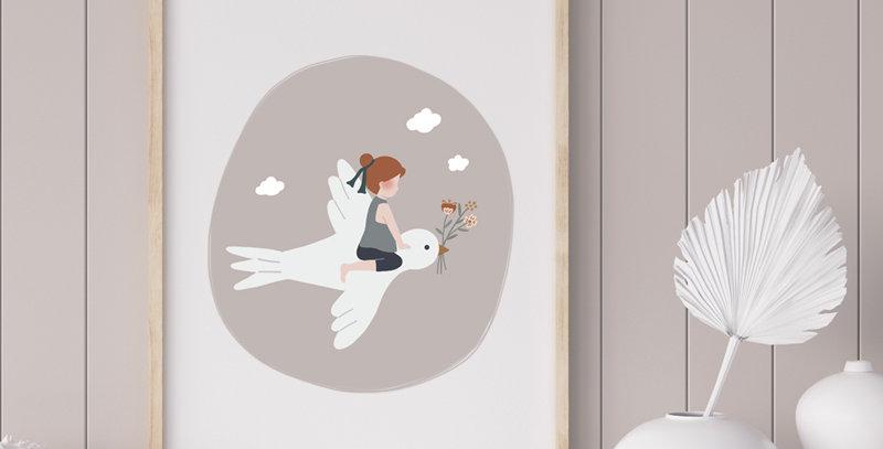 Affiche - Poster - L'enfant et l'hirondelle - gris rosé