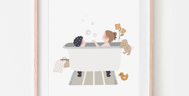 Affichette - Little Poster - Au bain / R