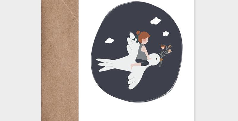 Carte postale - Postcard - L'enfant et l'hirondelle bleu marine / R
