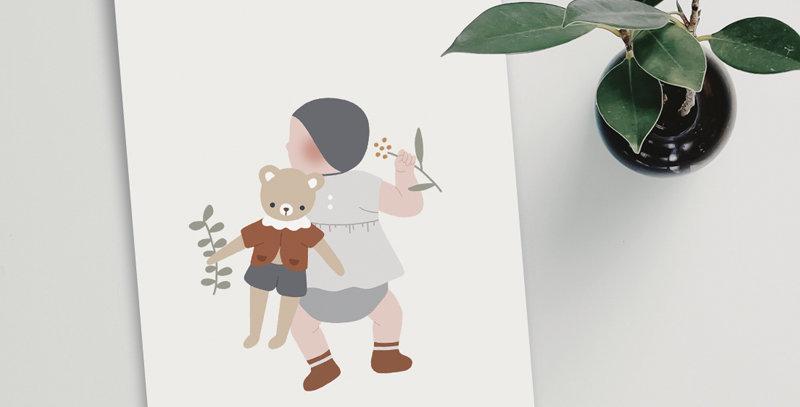 Carte postale - Post card - Bébé et son doudou garçon