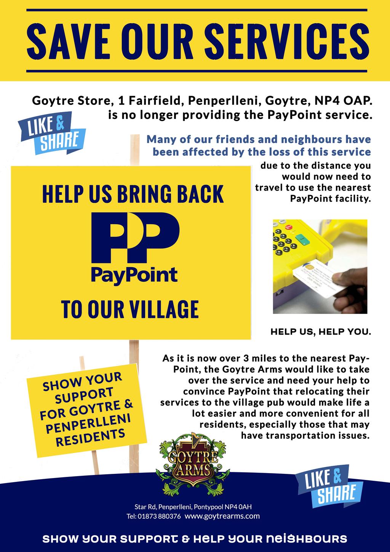 SHOW YOUR SUPPORT FOR GOYTRE & PENPERLLENI RESIDENTS