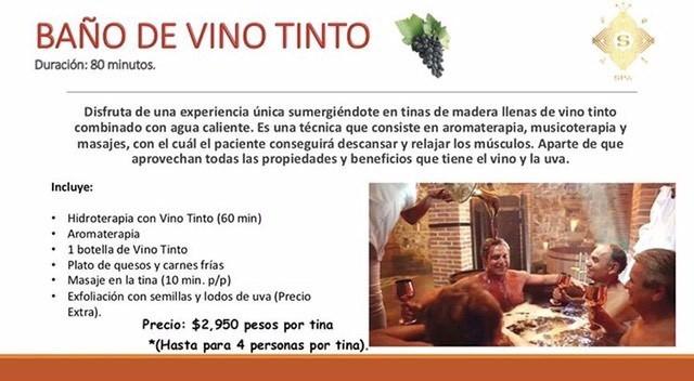 Baño de vino tinto $2,950.00