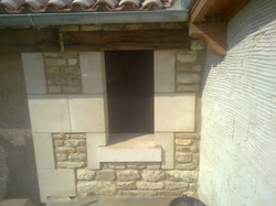 lime mortar wall and window sill