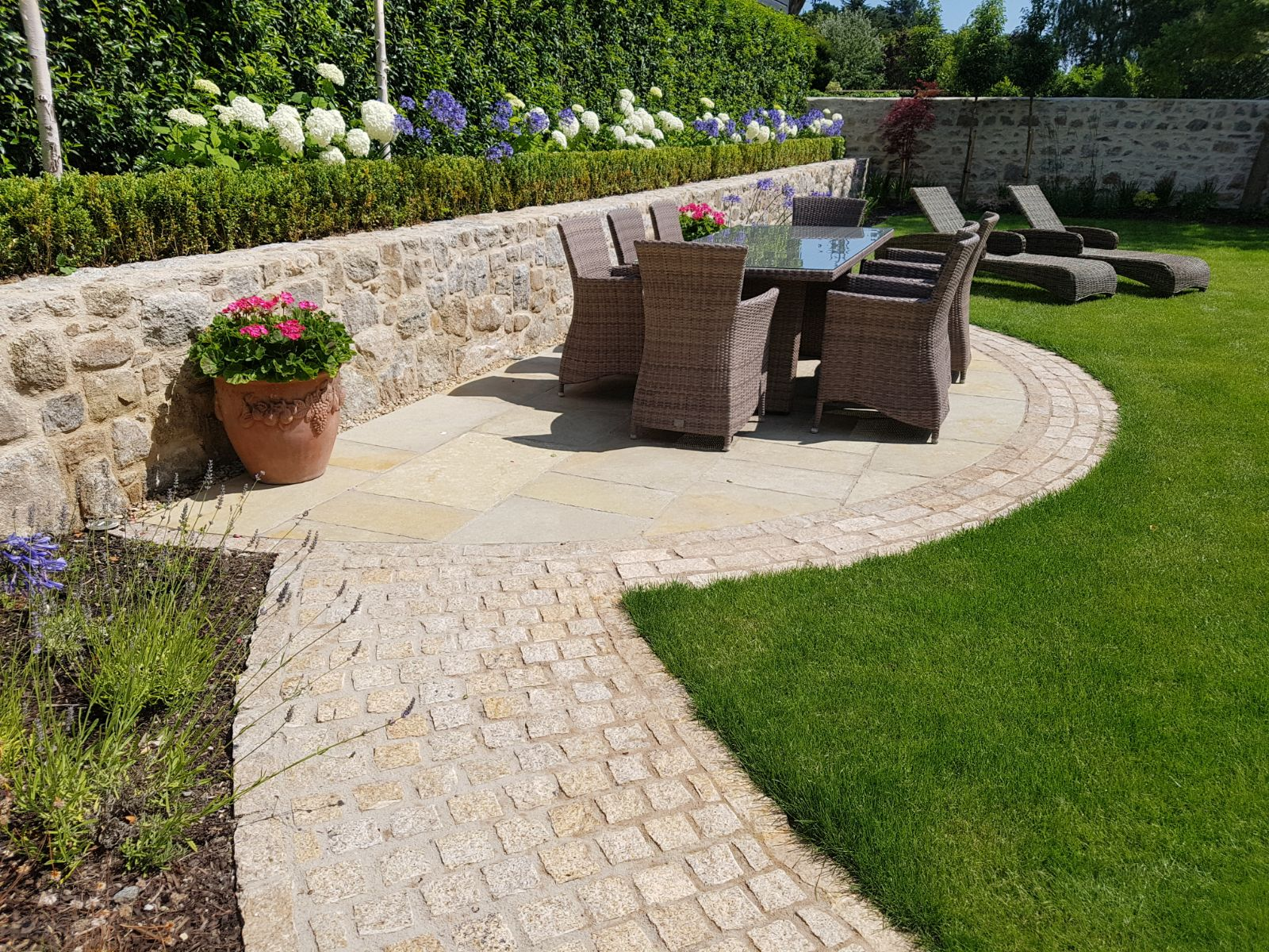 Granite wall and paving