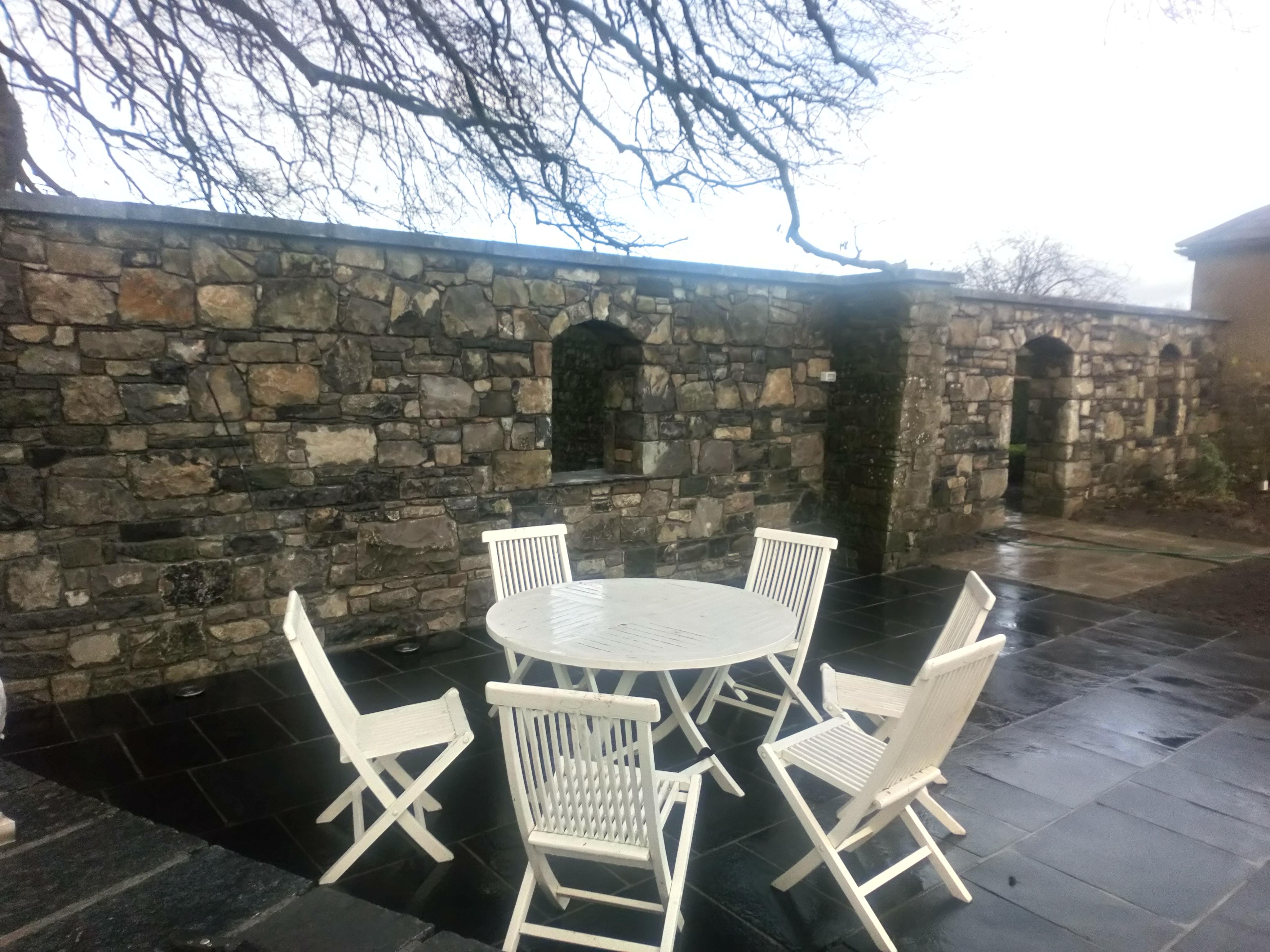 limestone wall and paving