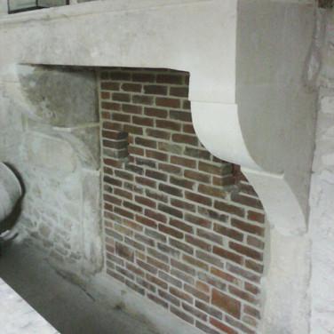 Red brick fireplace