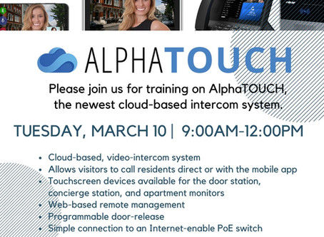 March 10th - AlphaTouch Training