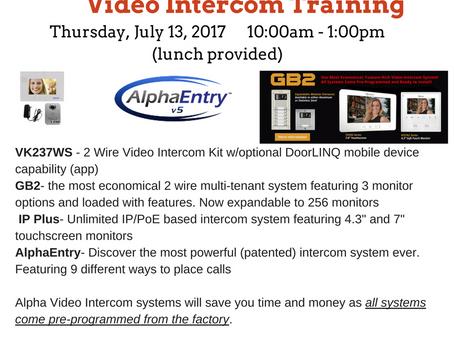 July 13 - Alpha Video Intercom Training