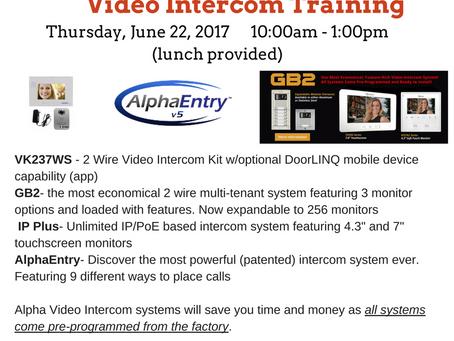 June 22 - Alpha Video Intercom Training