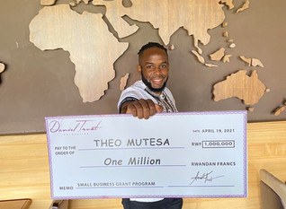 Theo Mutesa, Founder and CEO of Kigali Fit, has received a Rwf1 million Small Business Grant