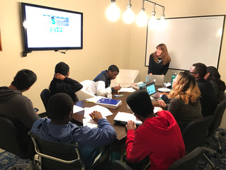 Professor Tonya Rondinone speaks to Daniel Trust Foundation students about College Admissions and Fi