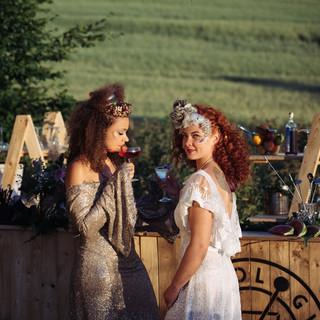 Baroque tiara & Fizz headdress