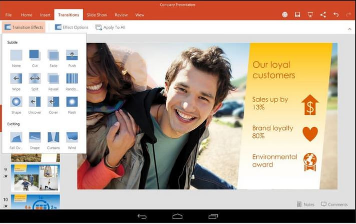 Microsoft PowerPoint on Android Tablet