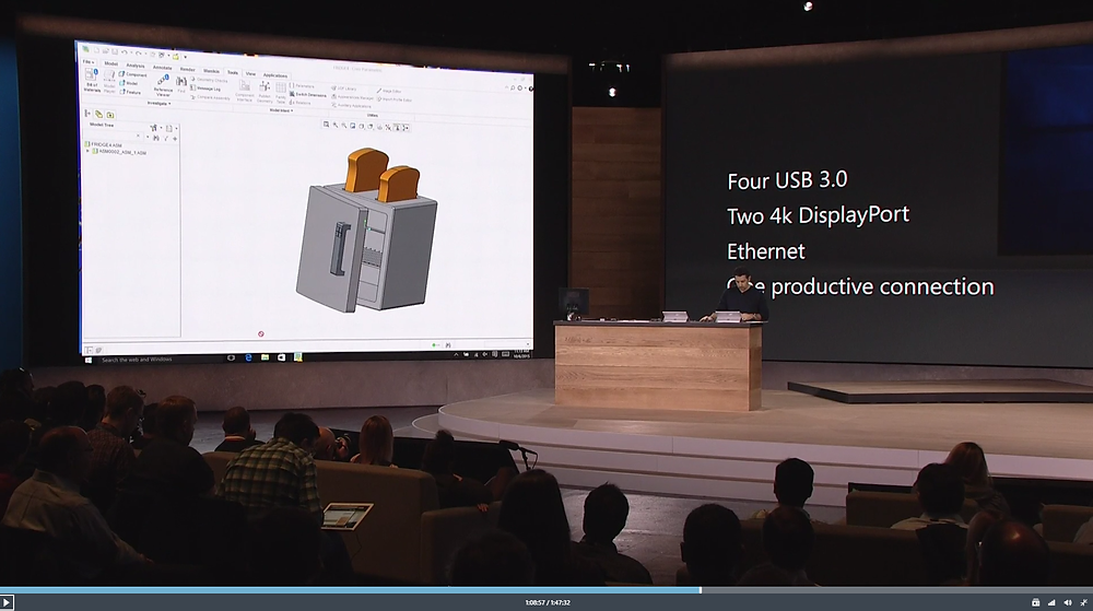 Panos Panay, pranked during the Surface Pro 4 launch, colleagues replaced his intended CAD 3D demo with a design of a Fridge-Toaster combination device.