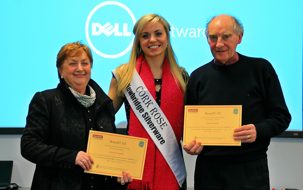 Getting Started programme participants Eileen O'Connell and Ned O'Connell with Anna Geary of Dell Ireland.