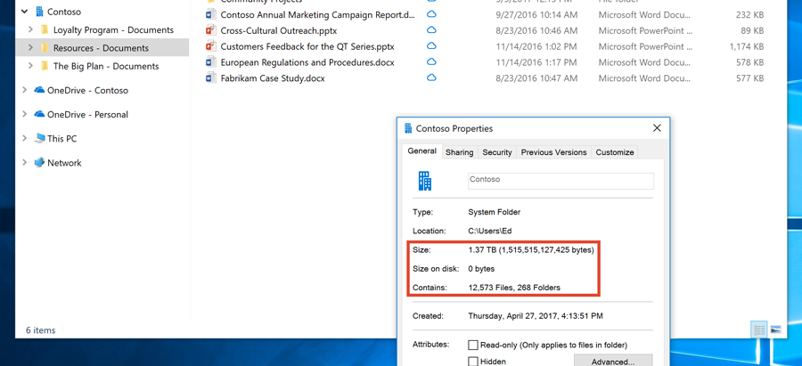 How To: Save Space by enabling On Demand Sync for One Drive in Windows 10