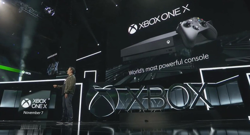 Phil Spencer, Head of Xbox, Unveils the Xbox One X console, available 7 November 2017, priced €499