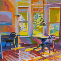 Sol Zaretsky, 2 Chairs, Acrylic, 2014, 24 x 24,.jpg