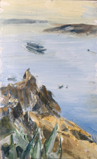 12 Marcia Clark, Aegean with Ship,2019, oil on aluminum 8x5in.jpg