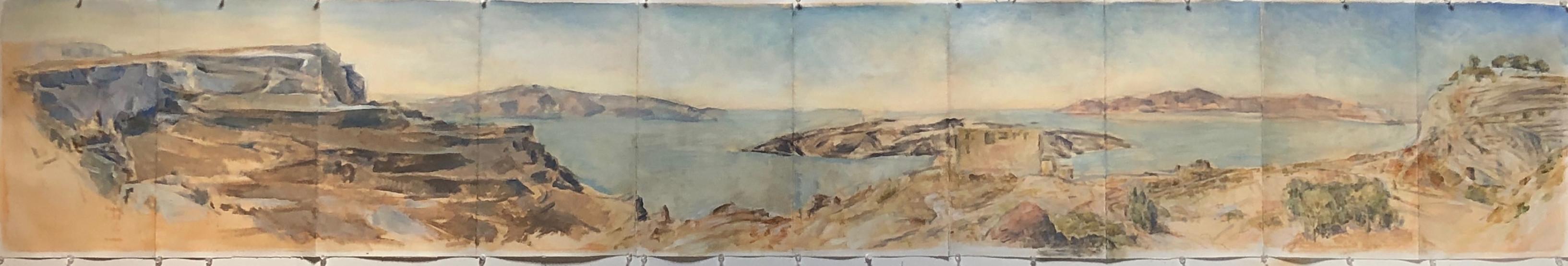 10.Marcia Clark, Fira Cliffs,2021. oil on paper 14x 95 in.jpg