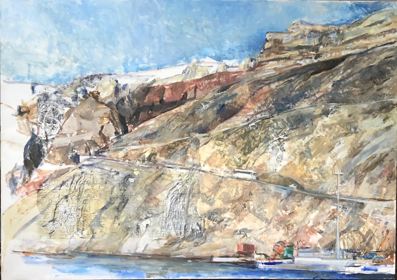 1 Marcia Clark, Approaching the Port,2020 oil on map transfer on canvas 34x48in..jpeg