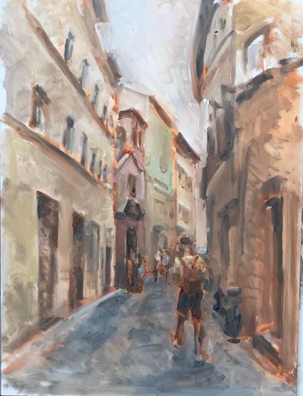 2 Marcia Clark, Siena Street w tourist 2021 oil on panel 16x12 in.jpeg