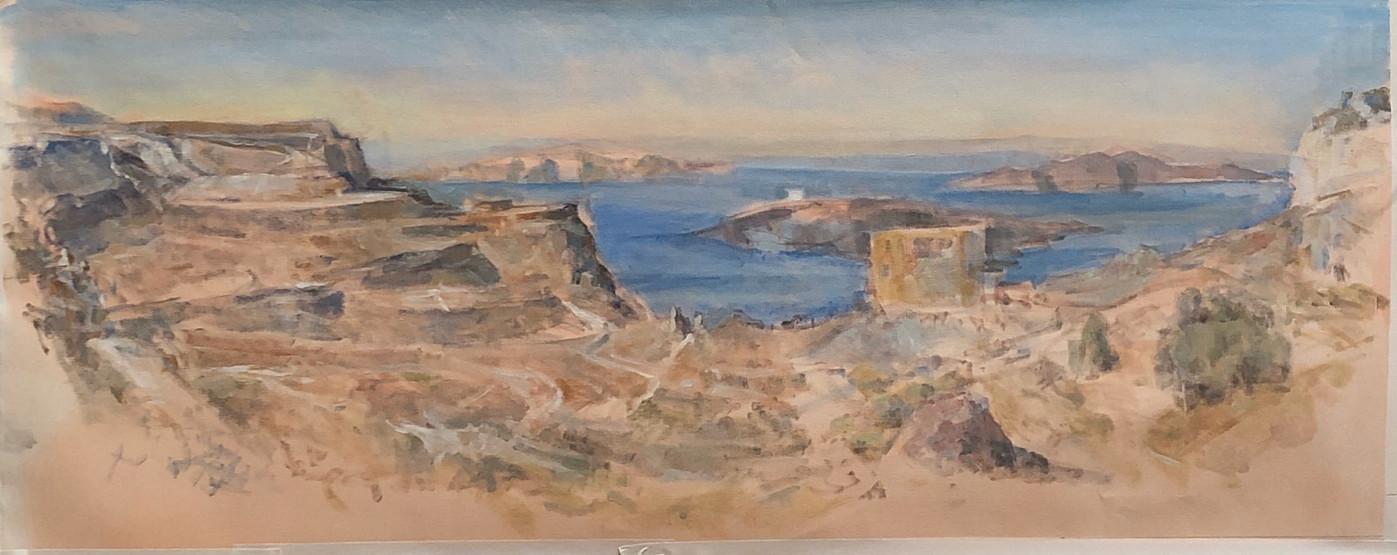 3 Marcia Clark, Cliffs Near Fira, 2019 oil on canvas 15x36 in..jpg