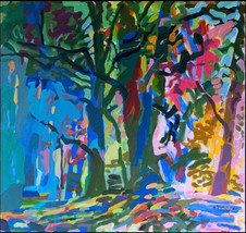 Sol Zaretsky, 3 Trees in Green and Red, Acrylic,  2010, 34 x 36,.jpg