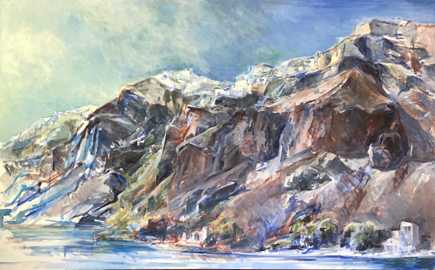 7 Marcia Clark Arriving at Oia 2020 oil on canvas 30x48in.jpeg