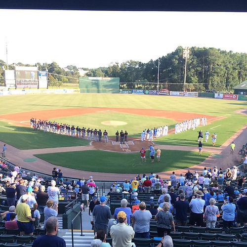 The Salem Red Sox get ready to face the Myrtle Beach Pelicans at TicketReturn.com Field in Myrtle Be