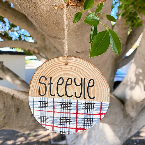 Grey/Red Plaid Custom Name Ornament