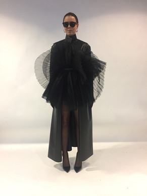LEATHER COAT WITH TULLE CORSET