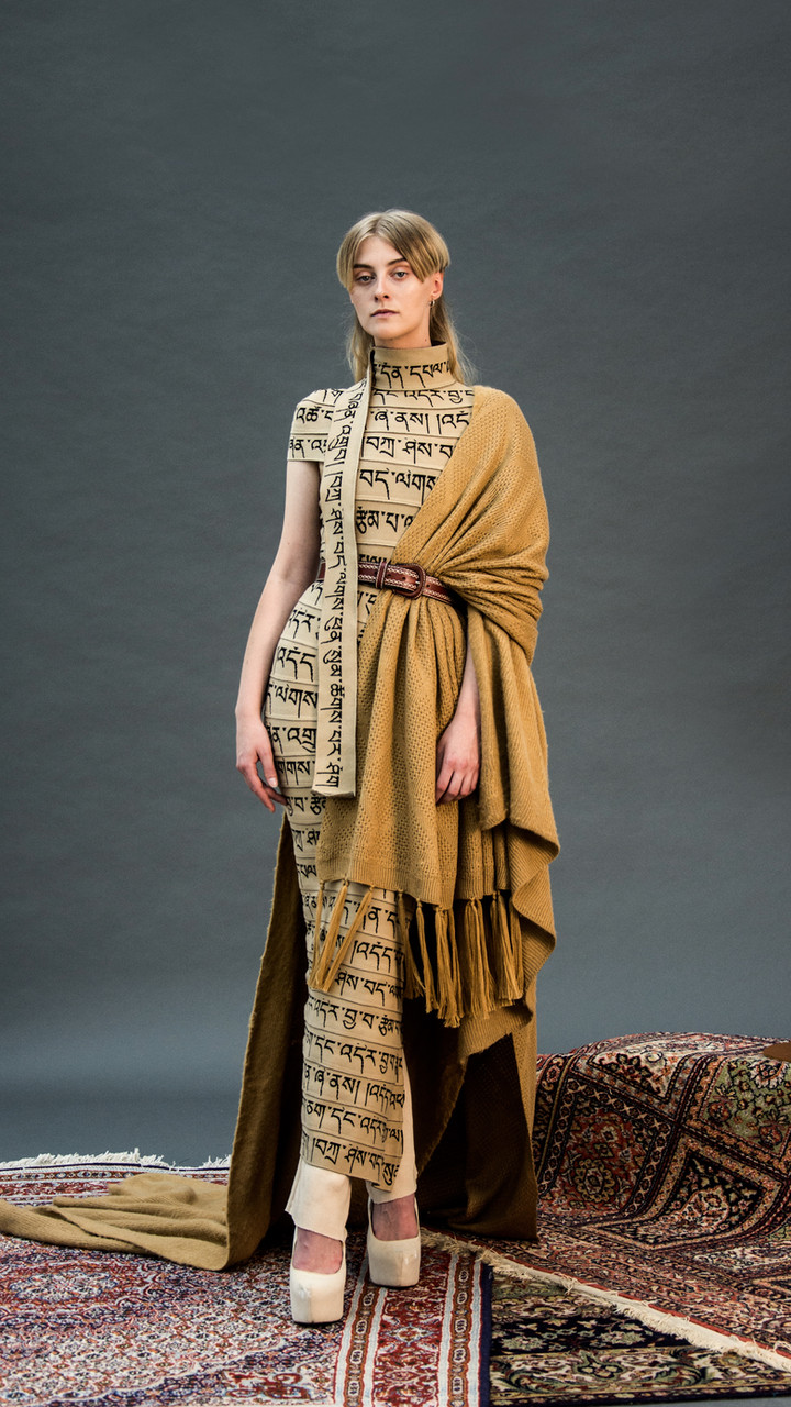BLESSING CHANT DRESS WITH WOOL DRAPE.