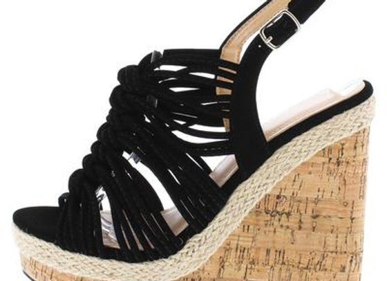 Aurora123 Black Knotted Strappy Open Toe Slingback Cork Wedge