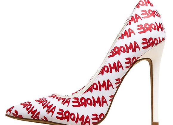 Radar White Amore Printed Pointed Toe Stiletto Pump Heel