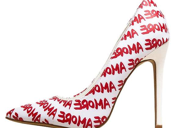 Radar White Amore Printed Pointed Toe Stiletto Pump Heel