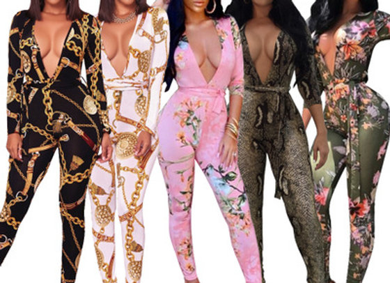 One Piece V-neck Bodycon Long Sleeve African Print Jumpsuit